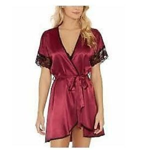 Linea Donatella burgundy black lace wrap robe